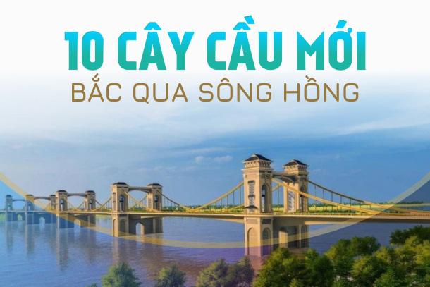 [Infographic] 10 cây cầu đang và sẽ xây dựng qua sông Hồng ở Hà Nội, bao gồm cầu Trần Hưng Đạo