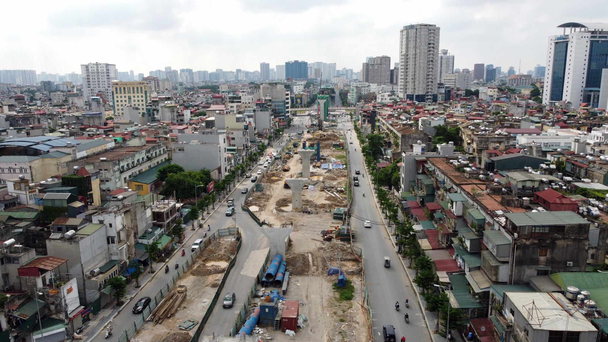Hình ảnh dự án giao thông trọng điểm của Hà Nội thi công khi giãn cách xã hội - Ảnh 9.