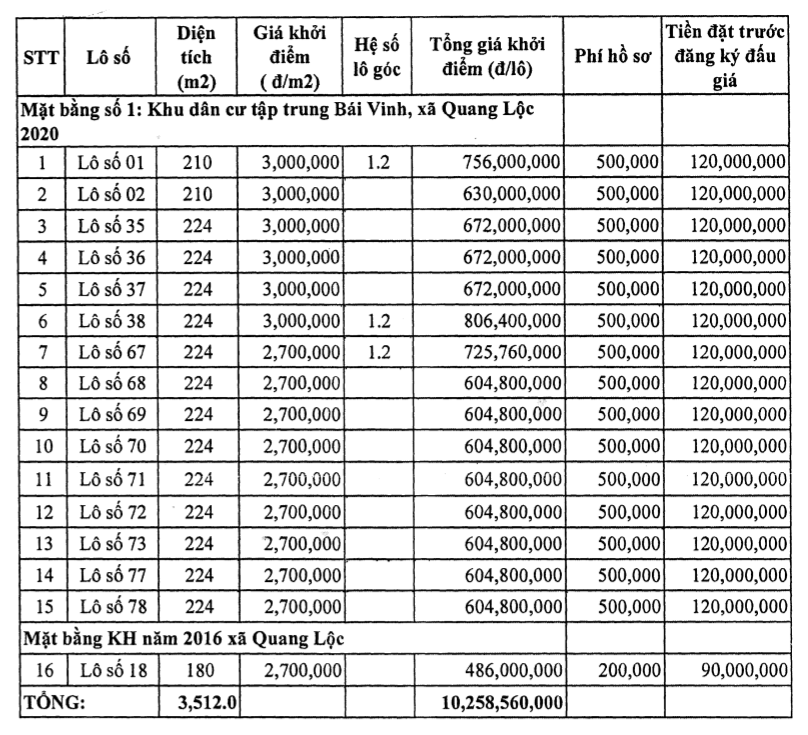 Thanh Hóa: Huyện Hậu Lộc đấu giá 19 lô đất, khởi điểm từ 4 triệu đồng/m2 - Ảnh 1.