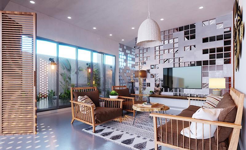 Ngôi nhà gây ấn tượng nhờ sử dụng nội thất gỗ mộc mạc - Ảnh 2.