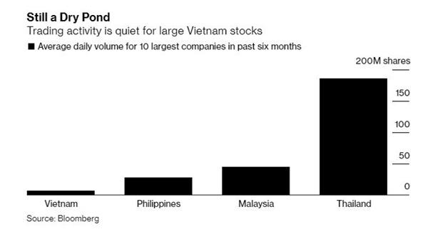 Bloomberg: Cổ phiếu Việt Nam đang rẻ, nhưng nhà đầu tư nước ngoài lại không có nhiều cơ hội mua vì thanh khoản thấp - Ảnh 2.