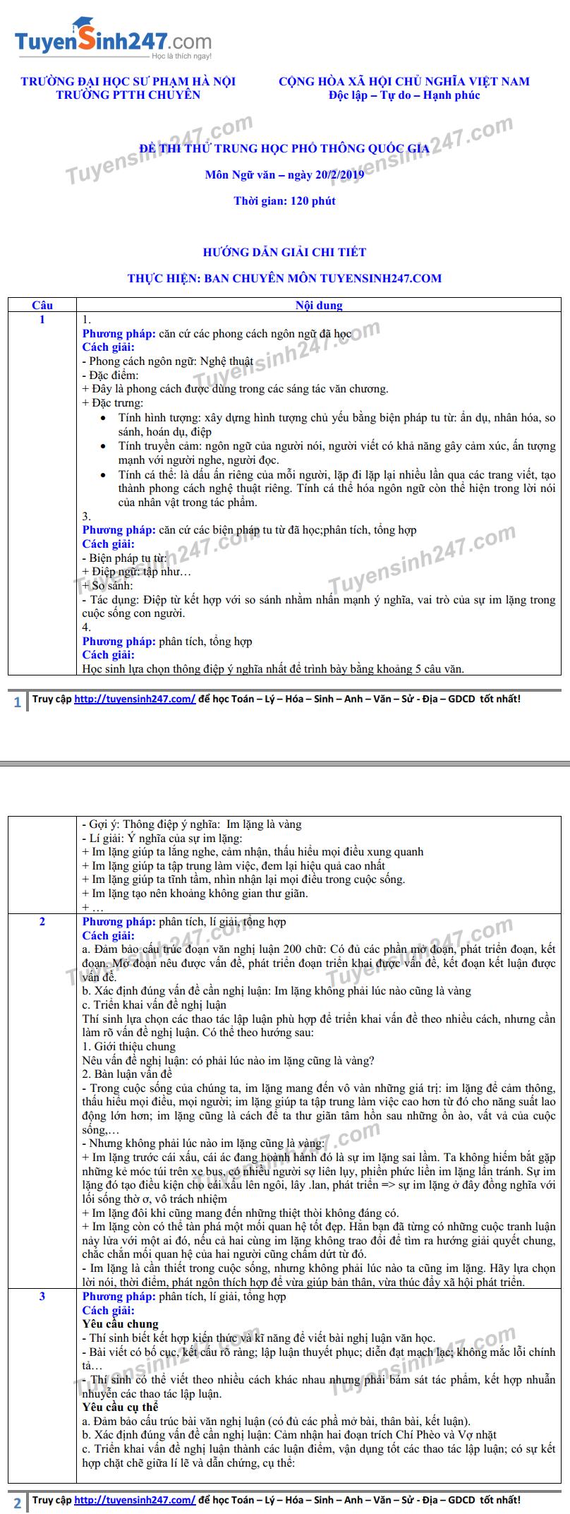 Đề thi thử THPT quốc gia 2019 môn Ngữ văn THPT chuyên ĐH Sư phạm Hà Nội có đáp án - Ảnh 3.