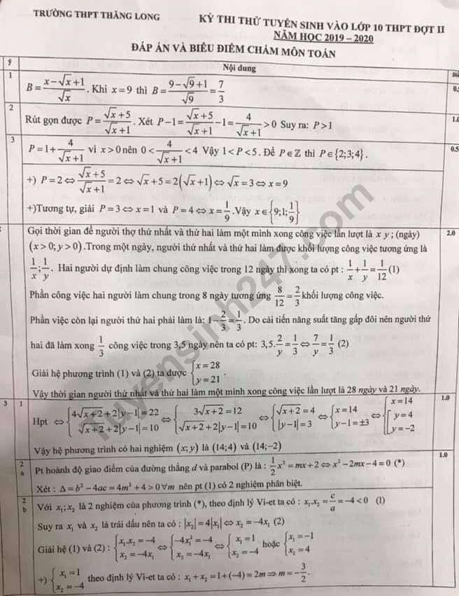Đề thi thử vào lớp 10 môn Toán THPT Thăng Long năm 2019 lần 2 kèm đáp án - Ảnh 2.
