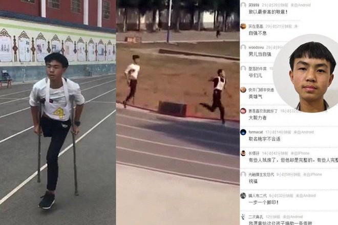 Học sinh khuyết tật TQ quyết tâm chống nạng thi chạy 1.000 mét - Ảnh 1.