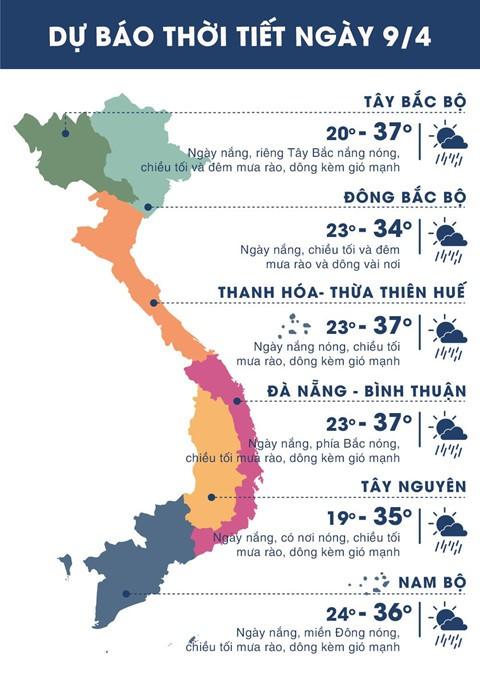 Thời tiết ngày 9/4: Hà Nội, Sài Gòn đều nắng nóng - Ảnh 1.
