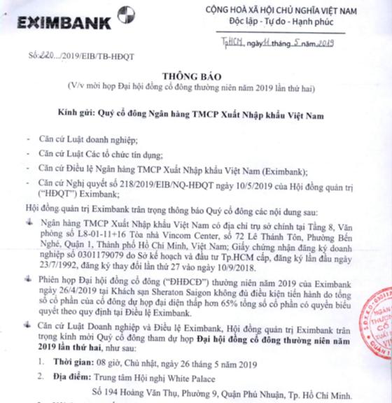 Eximbank đã chốt được lịch tổ chức đại hội lần 2 đúng một tháng sau ngày đại hội lần đầu phải dừng vì không đủ cổ đông tham dự - Ảnh 1.