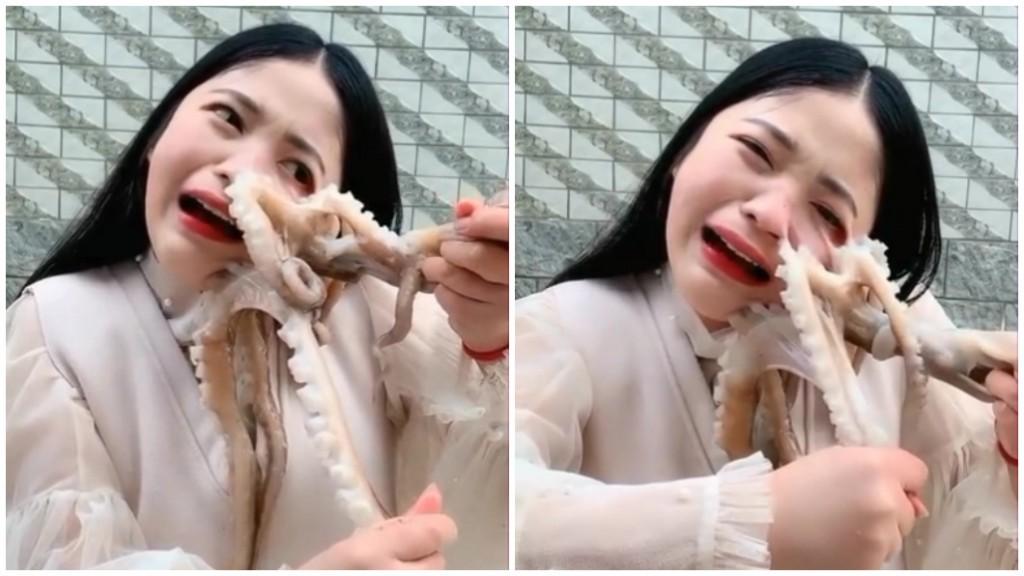Nữ streamer suýt rách mặt khi quay clip ăn bạch tuộc sống - Ảnh 1.