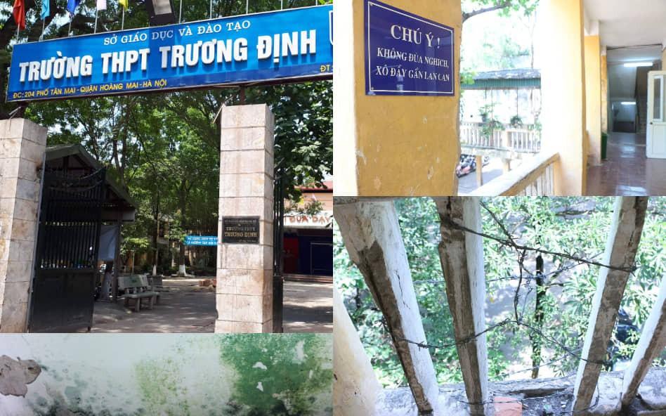 Vữa trần rơi, lan can được rào tạm bằng dây thép gai, ngôi trường cấp 3 giữa Hà Nội có nguy cơ đổ sập