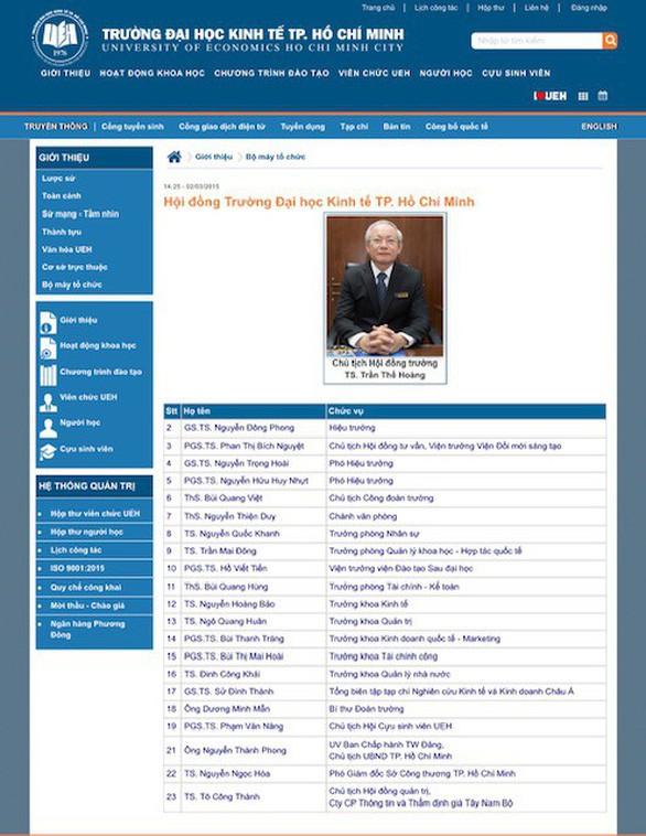Đại học Kinh tế TP HCM xóa tên ông Tề Trí Dũng khỏi Hội đồng trường - Ảnh 1.