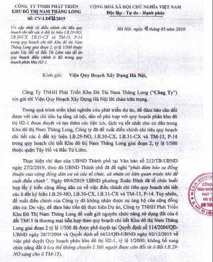 CĐT Nam Thăng Long có tiếp thu ý kiến cư dân trong việc điều chỉnh qui hoạch KĐT Ciputra? - Ảnh 2.