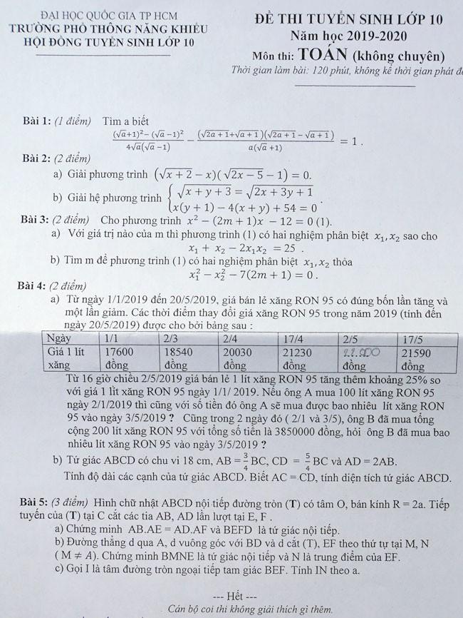 Đề Toán thi vào lớp 10 Trường Phổ thông Năng khiếu: Bài tìm nghiệm phương trình và hình học gây khó cho nhiều thí sinh - Ảnh 1.