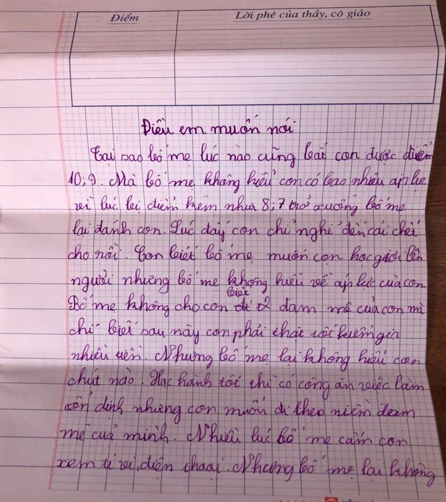 Cậu bé lớp 4 viết thư phản đối áp lực điểm 10 khiến cha mẹ lặng người - Ảnh 1.