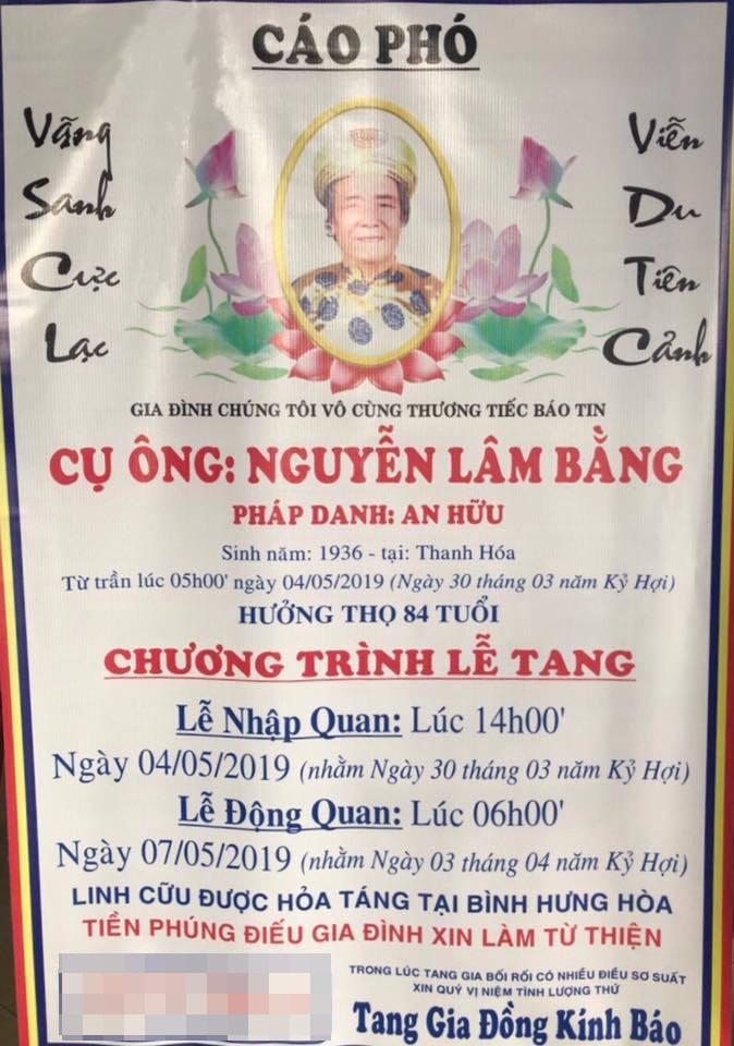 Cáo phó tan.g lễ ông Nguyễn Lâm Bằng - bố Việt Hương. (Ảnh: internet)