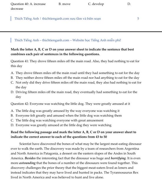 Đề thi thử THPT quốc gia 2019 môn Tiếng Anh THPT chuyên Khoa học Tự nhiên lần 3 (mã đề 342) kèm đáp án - Ảnh 7.