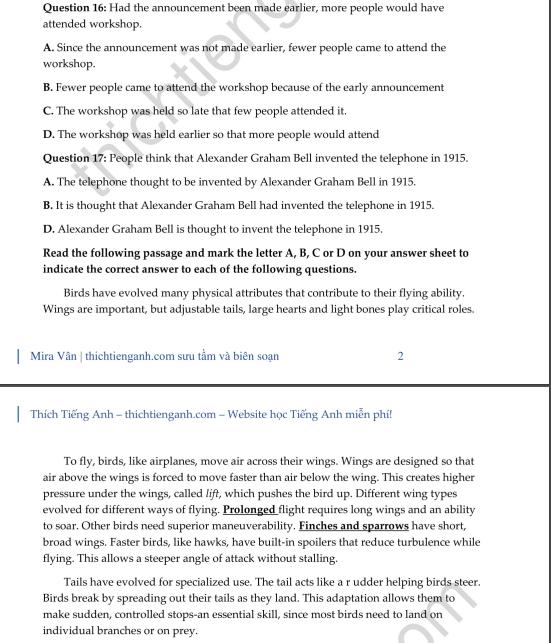 Đề thi thử THPT quốc gia 2019 môn Tiếng Anh THPT chuyên ĐH Vinh lần 3 có đáp án - Ảnh 3.