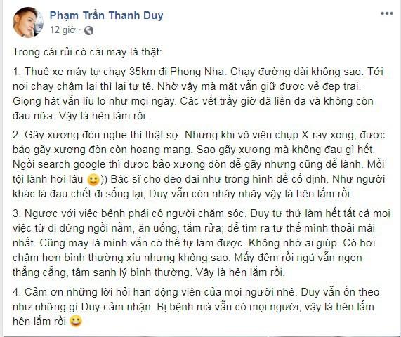 Sao Việt hôm nay (4/6): Thanh Duy cập nhật sức khỏe sau chấn thương gãy xương đòn, Khánh My khóa môi bạn trai say đắm - Ảnh 1.