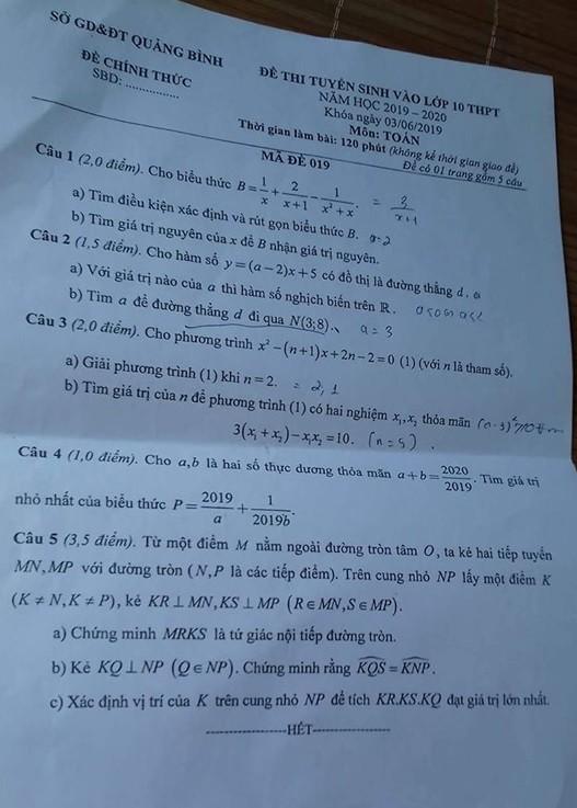 Gợi ý đáp án đề thi vào lớp 10 môn Toán tỉnh Quảng Bình năm 2019 - Ảnh 1.