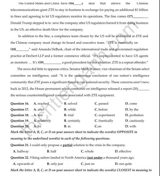 Đề thi thử THPT quốc gia 2019 môn Tiếng Anh THPT chuyên Hưng Yên lần 2 - Ảnh 5.
