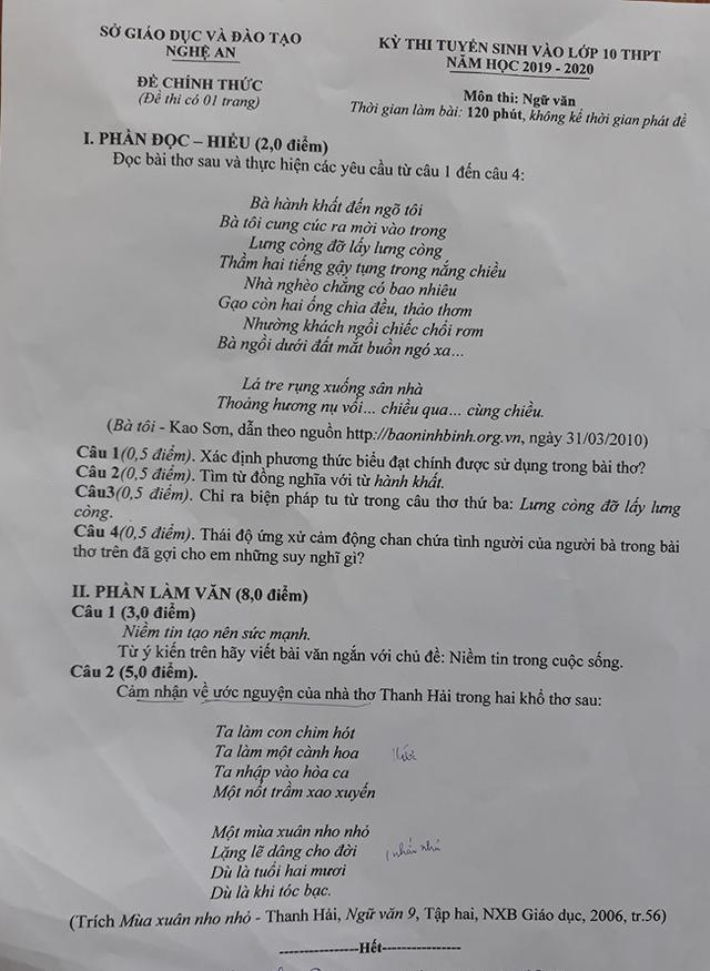 Gợi ý đáp án đề thi vào lớp 10 môn Ngữ văn tỉnh Nghệ An năm 2019 - Ảnh 1.