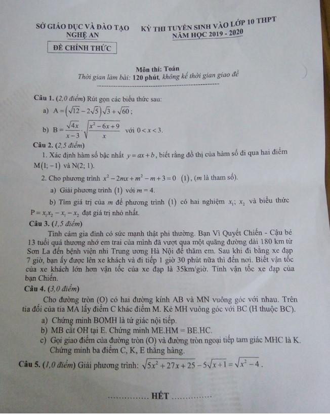 Đề thi vào lớp 10 môn Toán ở Nghệ An yêu cầu tính vận tốc xe đạp của cậu bé từ Sơn La về Hà Nội thăm em - Ảnh 1.
