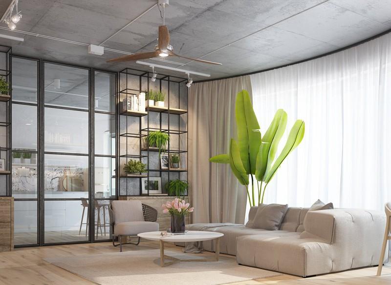 Nội thất căn hộ truyền cảm hứng với trần bê tông và sàn gỗ - Ảnh 1.