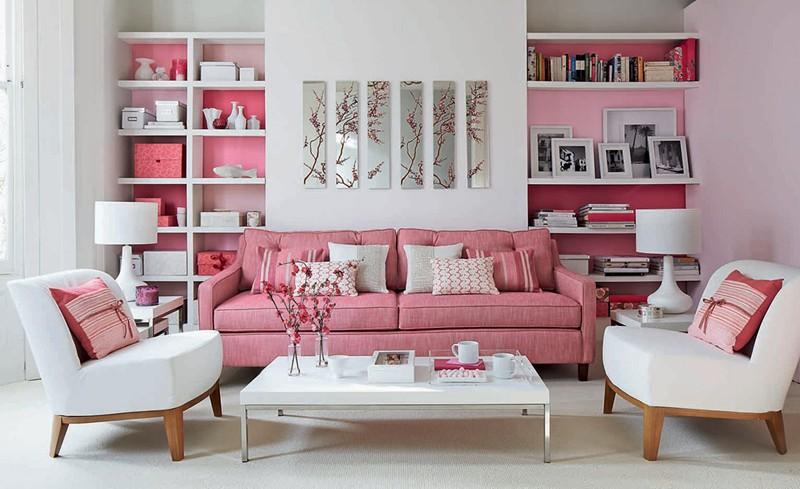 Bí quyết trang trí phòng khách màu hồng khiến vạn người mê - Ảnh 1.