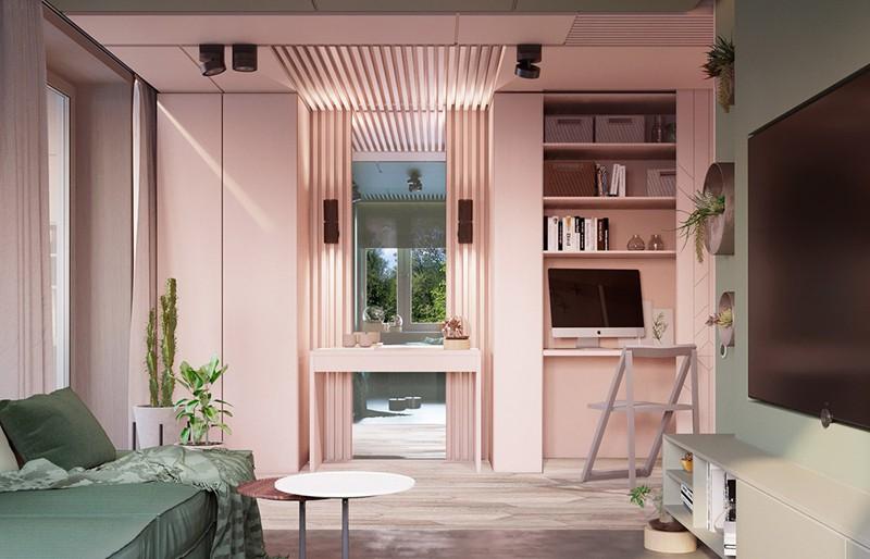 Bí quyết trang trí phòng khách màu hồng khiến vạn người mê - Ảnh 11.