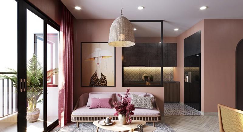 Bí quyết trang trí phòng khách màu hồng khiến vạn người mê - Ảnh 2.