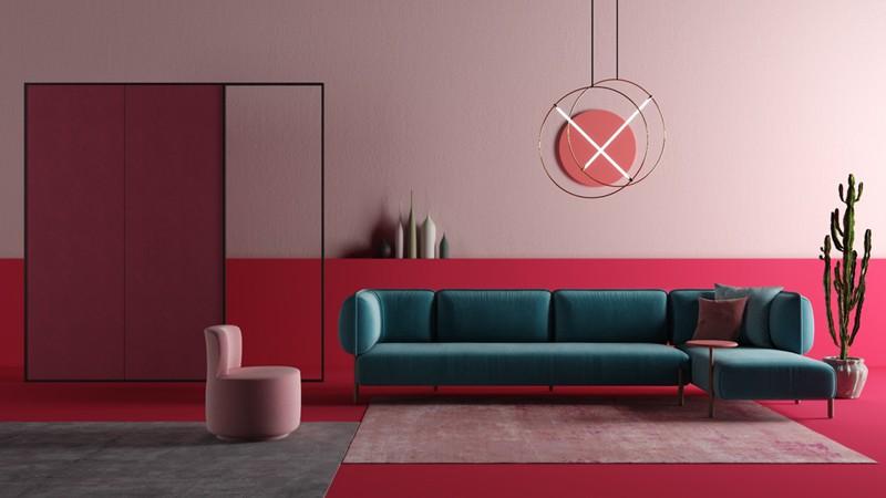 Bí quyết trang trí phòng khách màu hồng khiến vạn người mê - Ảnh 3.