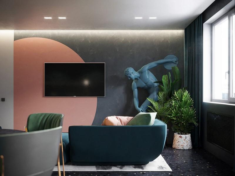 Bí quyết trang trí phòng khách màu hồng khiến vạn người mê - Ảnh 4.