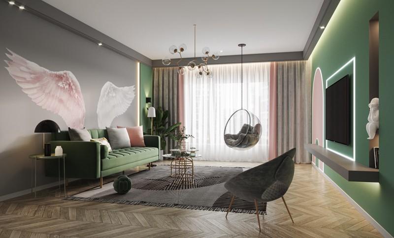 Bí quyết trang trí phòng khách màu hồng khiến vạn người mê - Ảnh 8.
