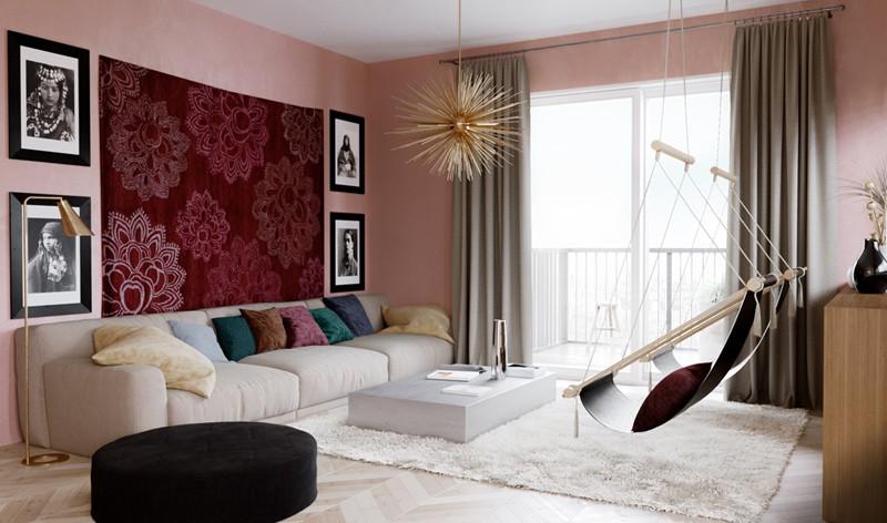Bí quyết trang trí phòng khách màu hồng khiến vạn người mê - Ảnh 9.