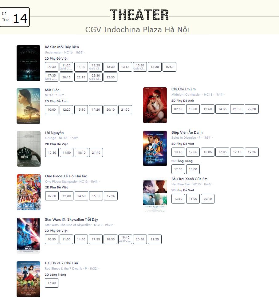 Lịch chiếu phim ngày mai (14/1) tại một số rạp CGV Hà Nội - Ảnh 3.
