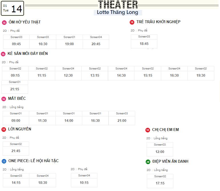 Lịch chiếu phim ngày mai (14/1) tại các rạp Lotte Hà Nội - Ảnh 4.