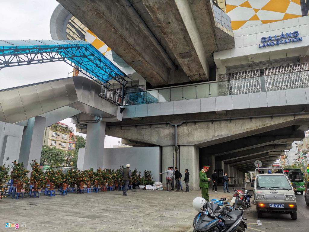 Đường sắt Cát Linh chưa hoạt động, nha ga thành chợ cây cảnh Tết - Ảnh 5.