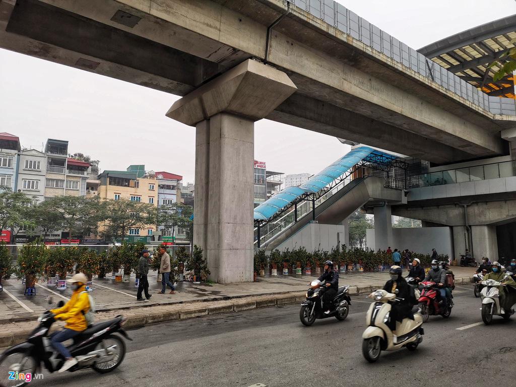 Đường sắt Cát Linh chưa hoạt động, nha ga thành chợ cây cảnh Tết - Ảnh 6.