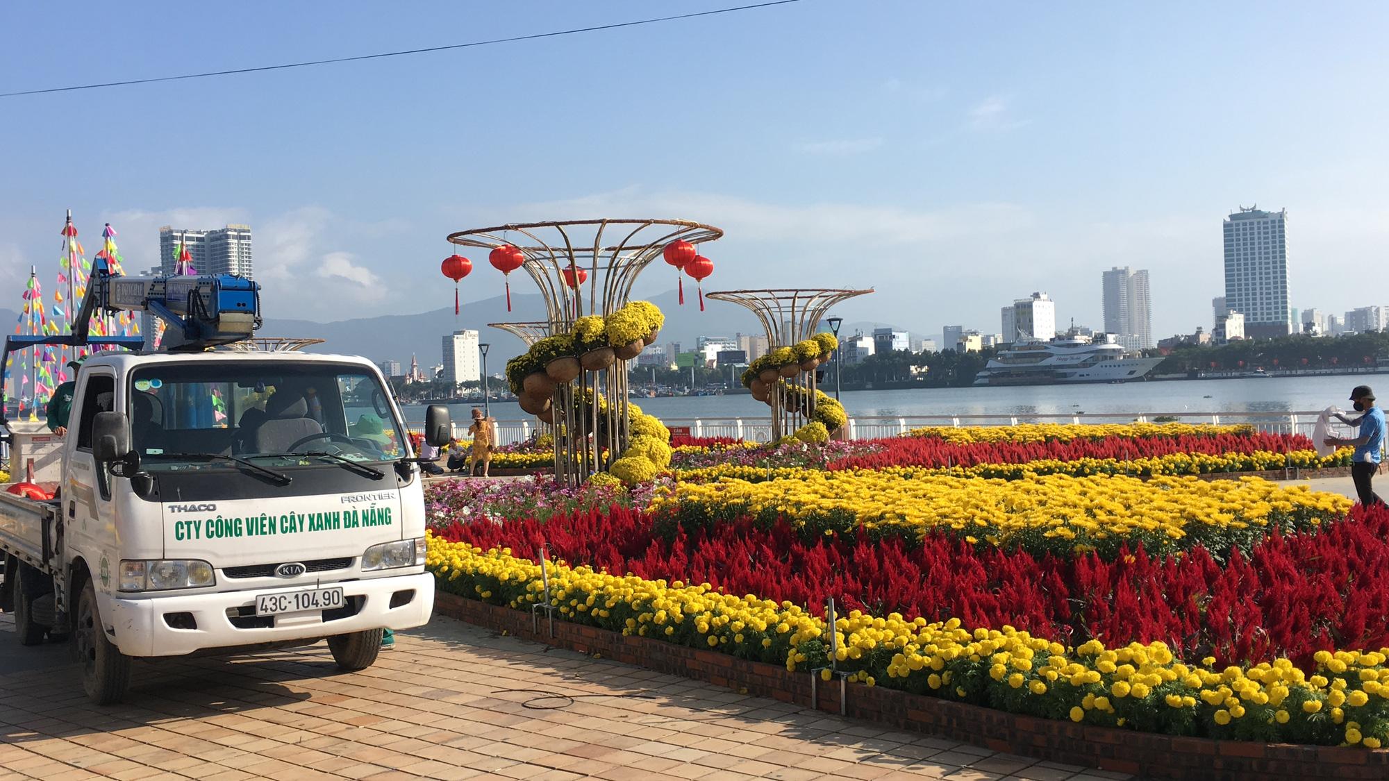 Hối hả thi công đường hoa Đà Nẵng để người dân tham quan, chơi Tết Canh Tý 2020 - Ảnh 4.