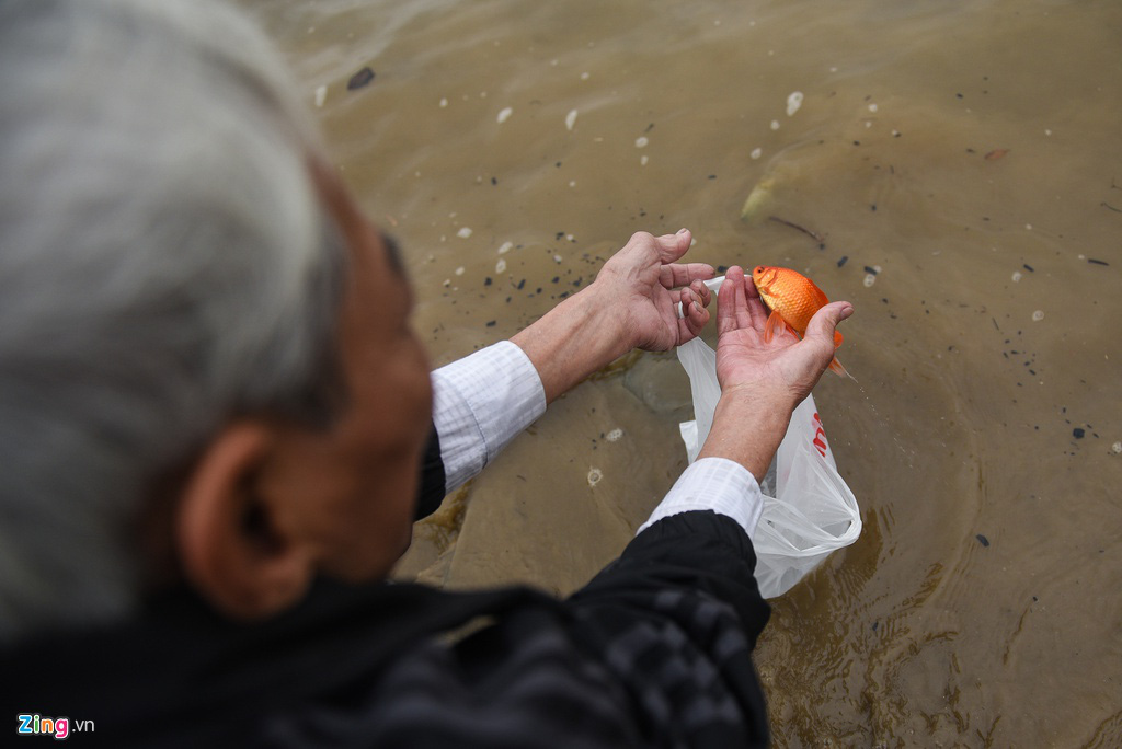 Cầu Long Biên ùn tắc ngày thả cá tiễn ông Táo - Ảnh 9.