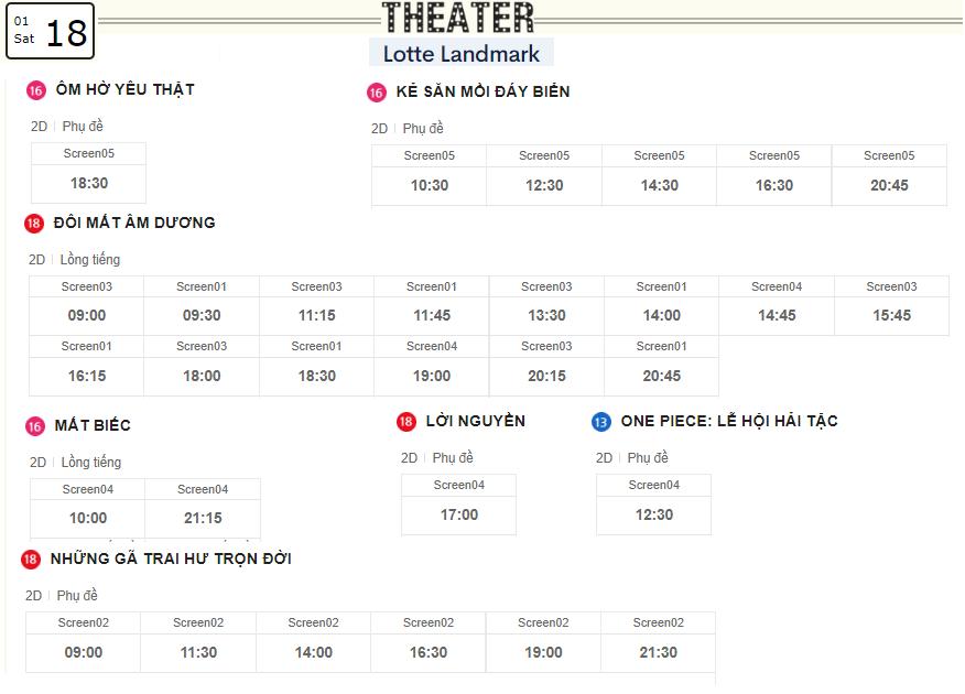 Lịch chiếu phim ngày mai (18/1) tại các rạp Lotte Hà Nội - Ảnh 2.