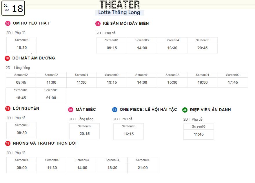 Lịch chiếu phim ngày mai (18/1) tại các rạp Lotte Hà Nội - Ảnh 4.