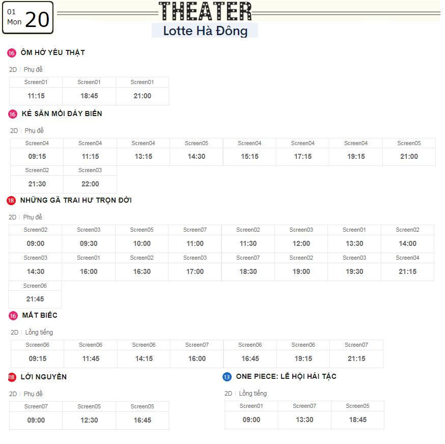 Lịch chiếu phim ngày mai (20/1) tại các rạp Lotte Hà Nội - Ảnh 3.