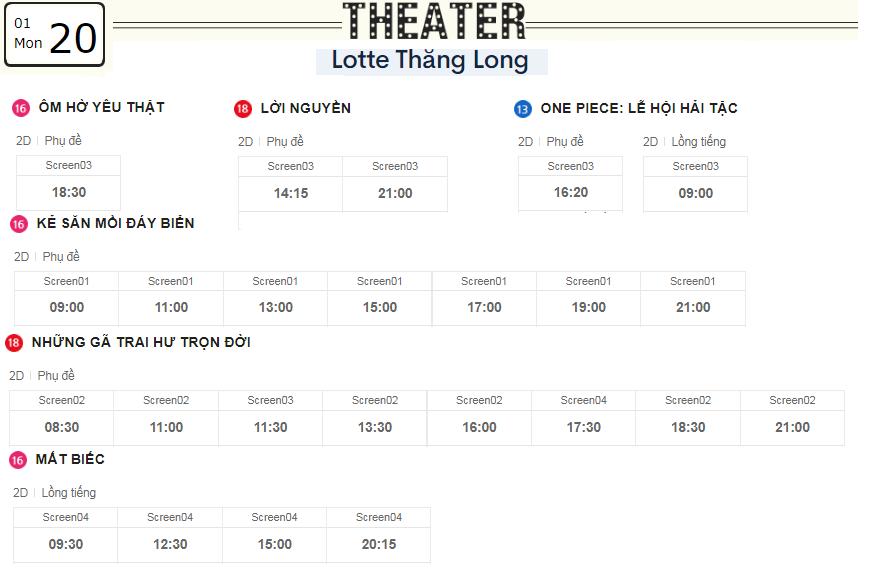 Lịch chiếu phim ngày mai (20/1) tại các rạp Lotte Hà Nội - Ảnh 4.