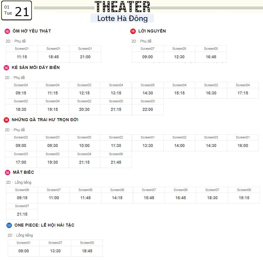 Lịch chiếu phim ngày mai (21/1) tại các rạp Lotte Hà Nội - Ảnh 3.