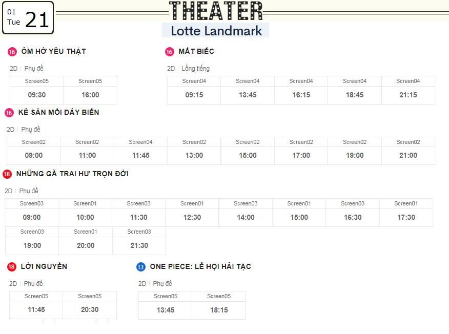 Lịch chiếu phim ngày mai (21/1) tại các rạp Lotte Hà Nội - Ảnh 2.