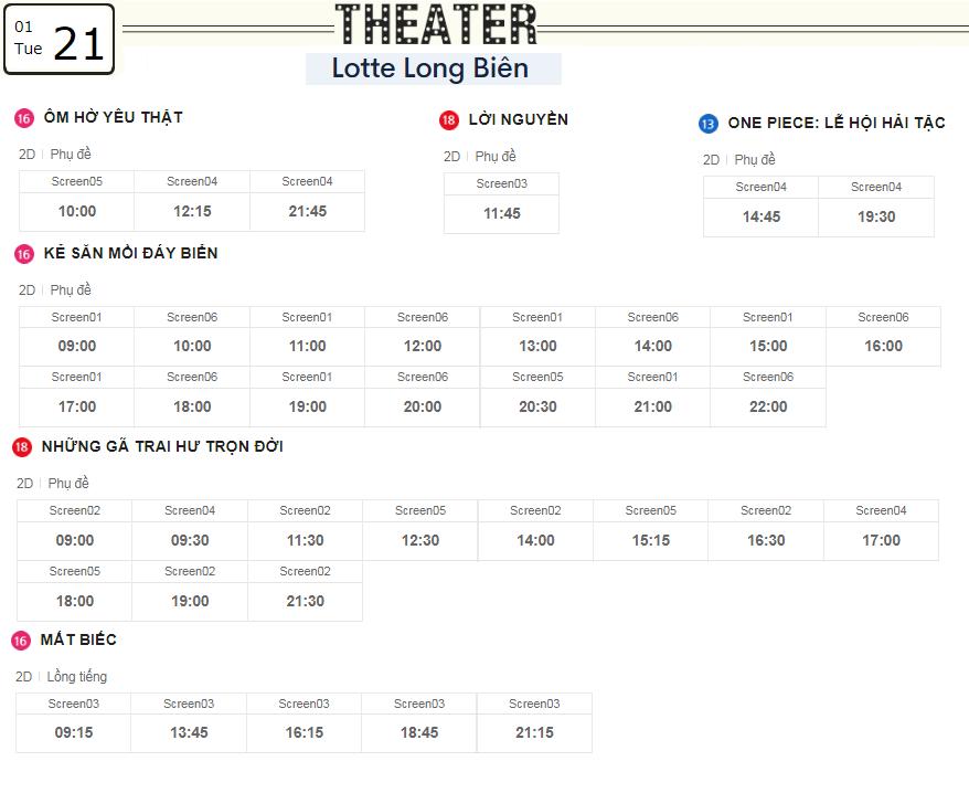 Lịch chiếu phim ngày mai (21/1) tại các rạp Lotte Hà Nội - Ảnh 5.
