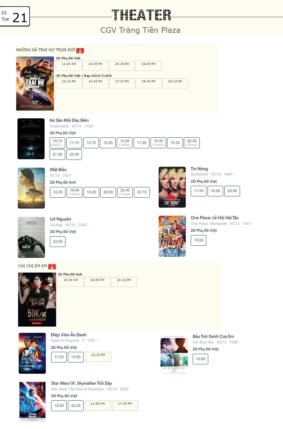 Lịch chiếu phim ngày mai (21/1) tại một số rạp CGV Hà Nội - Ảnh 5.