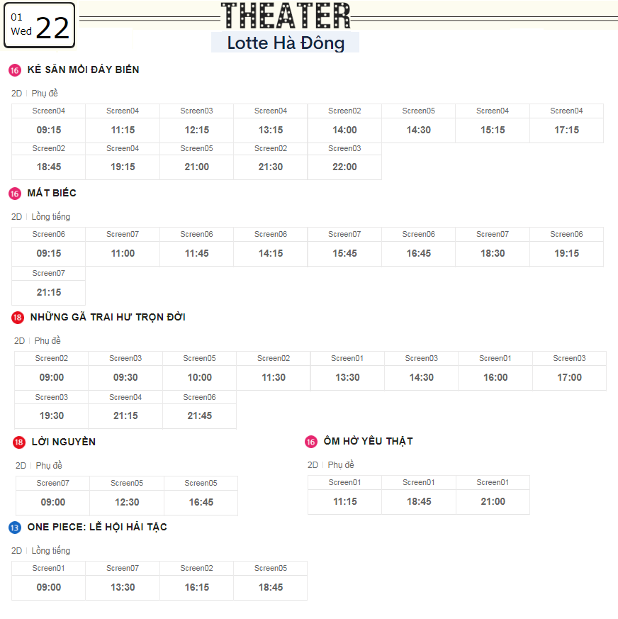 Lịch chiếu phim ngày mai (22/1) tại các rạp Lotte Hà Nội - Ảnh 3.