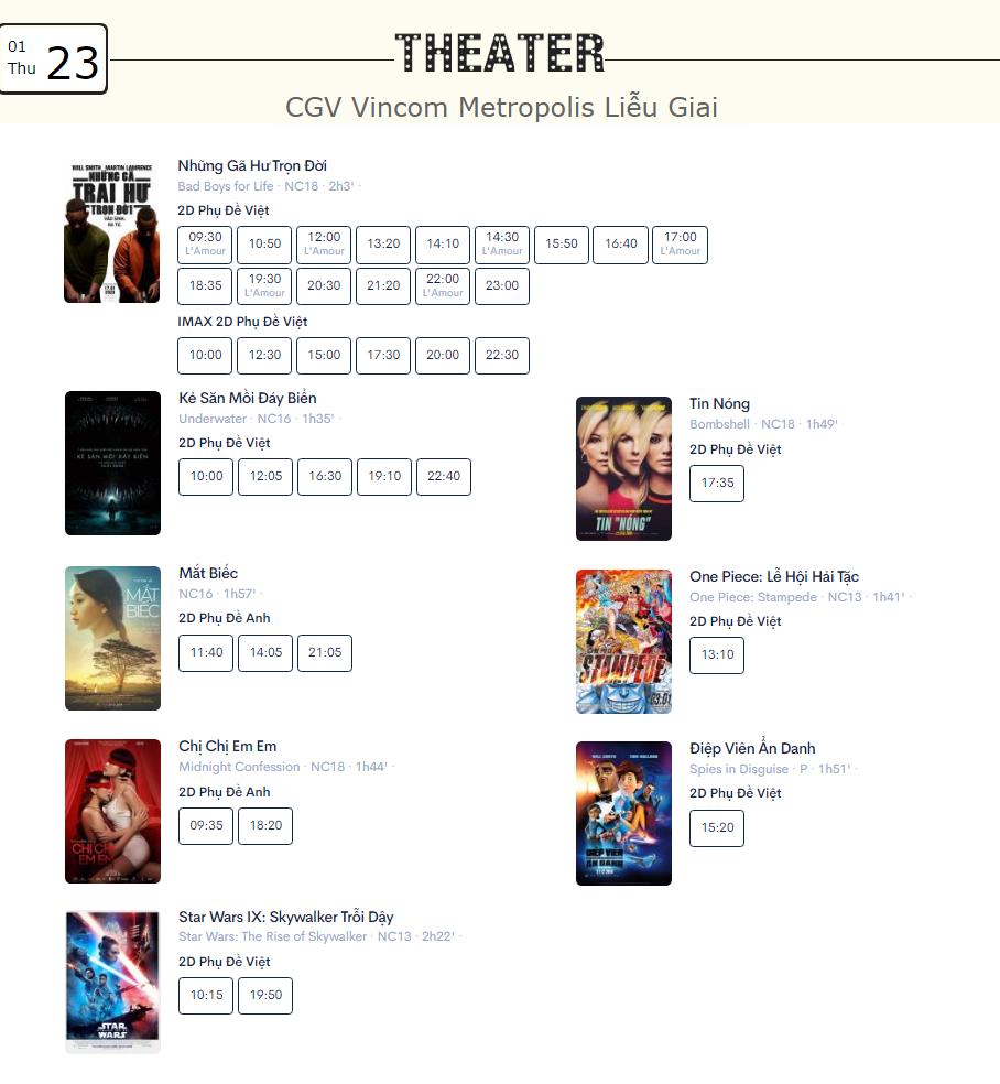 Lịch chiếu phim ngày mai (23/1) tại một số rạp CGV Hà Nội - Ảnh 9.