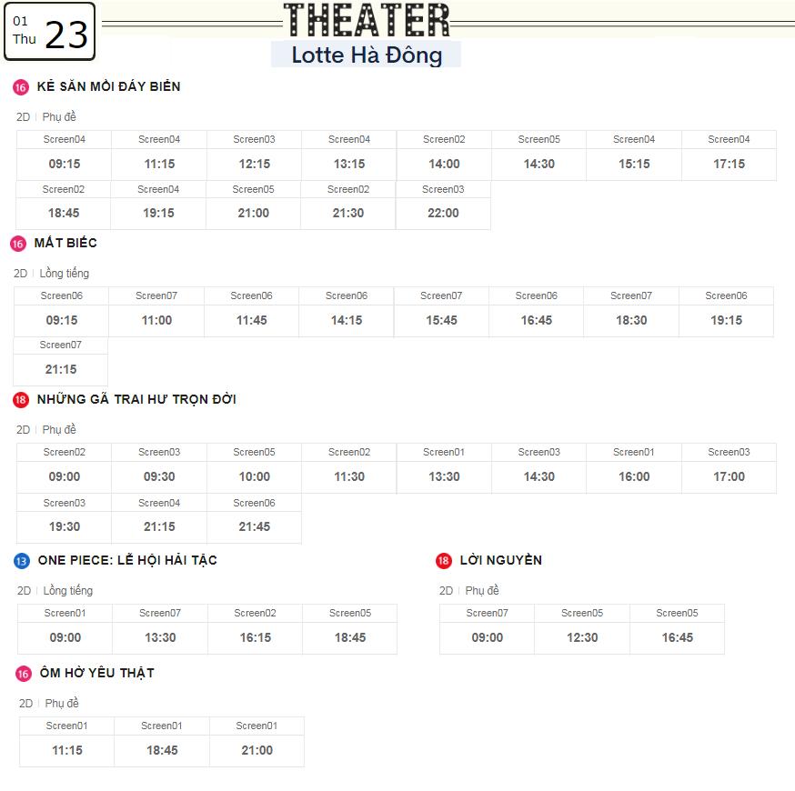 Lịch chiếu phim ngày mai (23/1) tại các rạp Lotte Hà Nội - Ảnh 3.