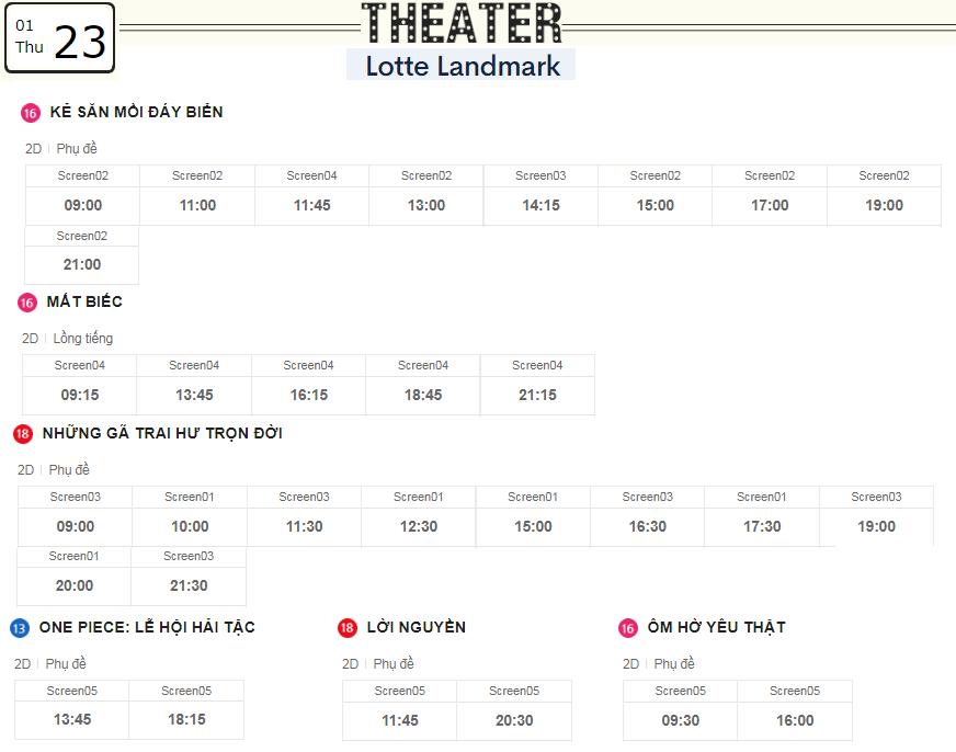 Lịch chiếu phim ngày mai (23/1) tại các rạp Lotte Hà Nội - Ảnh 2.